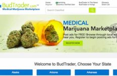 Homepage of BudTrader.com, medical marijuana marketplace.