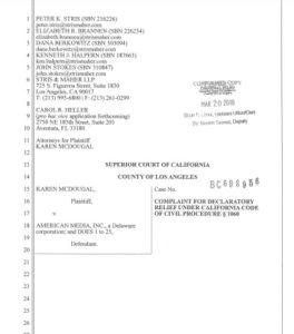Karen McDougal lawsuit against AMI, National Enquirer.