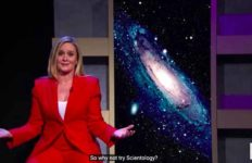 """Samantha Bee on """"Full Frontal,"""" calling on NRA members to instead join the Church of Scientology."""