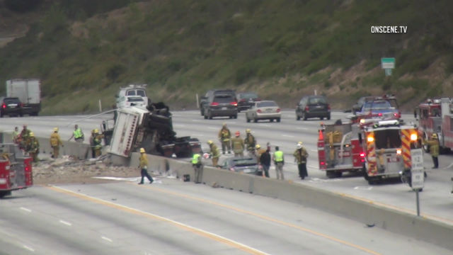Fiery Crash Involving Truck and Car Shut Down Multiple Lanes on 405