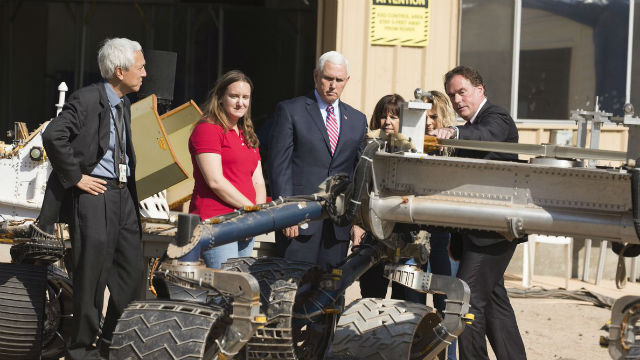 Vice President Mike Pence views Mars rover