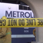 Metrolink train with crime tape