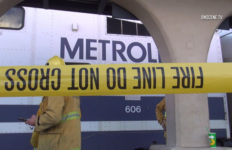Metrolink train with crime tape
