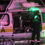 Injured woman in helicopter