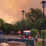 Smoke and fire trucks