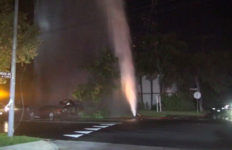 Water spews from hydrant in Valley Village
