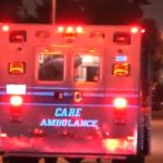Ambulance arrives at scene of shooting