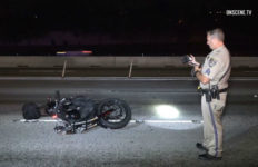 CHP officer photographs wrecked motorcycle