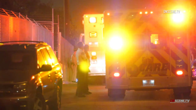 Paramedics at the scene of the shooting