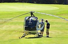 Helicopter on green