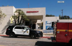 Emergency vehicles outside hospital