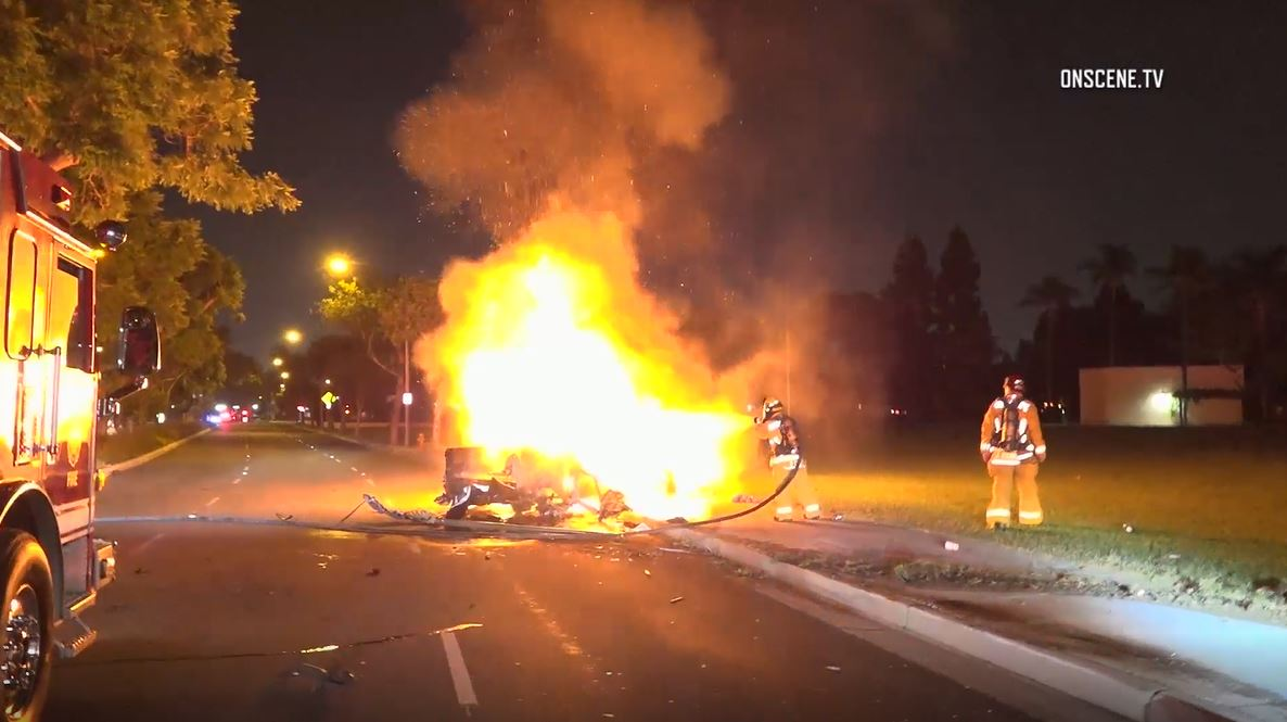 Driver arrested on suspicion of dui following fiery crash in garden grove Garden grove breaking news now