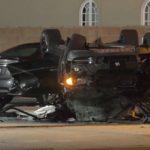 Rollover crash wreckage