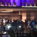 Evacuated travelers outside Union Station