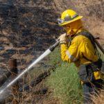 Firefighters sprays water on hot spot