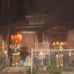 Burning house in Boyle Heights