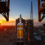Delta IV Heavy rocket on launch pad