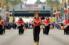 Marching band in the East Los Angeles Christmas Parade