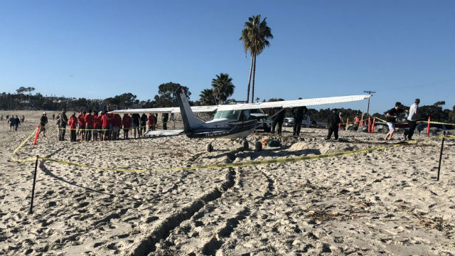 Plane on beach at Dana Point