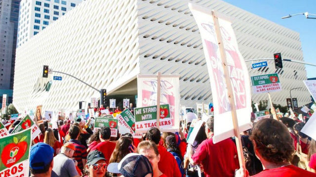 Los Angeles teachers rally downtown