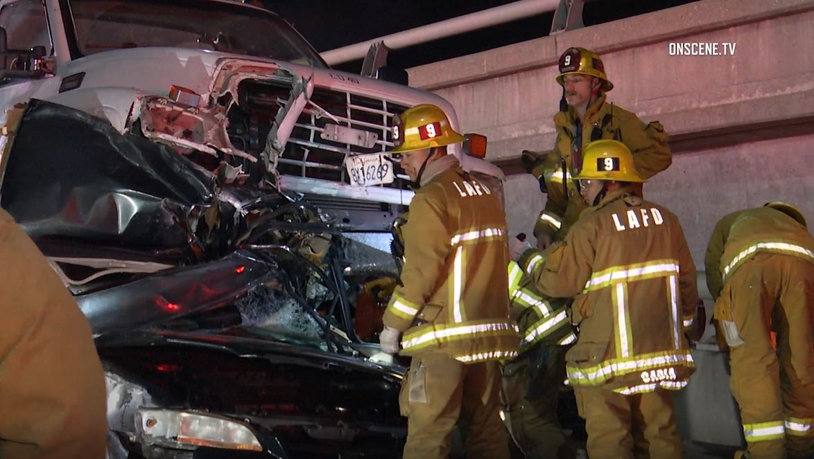 Tow Truck Ends up on Top of Car in Deadly Collision on 10 Freeway in