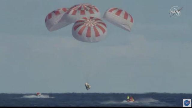 Crew Dragon capsule landing