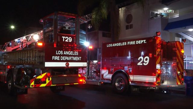 Fire trucks outside the apartment in Koreatown