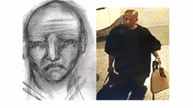 Sketch and photo of the rape suspect