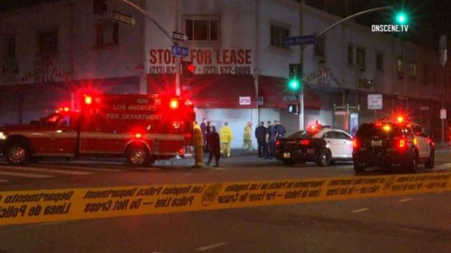 Crime scene in downtown Los Angeles
