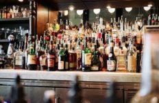 Liquor bottles in a bar