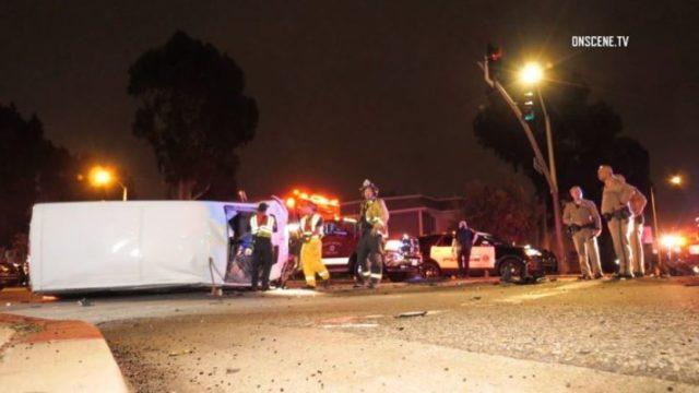 Overturned medical vehicle