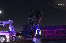 Overturned big rig
