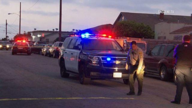 Los Angeles Sheriff's deputies at scene of shooting