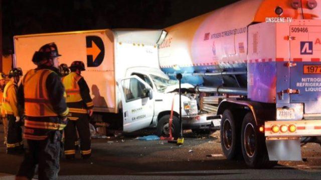 Accident scene in La Mirada
