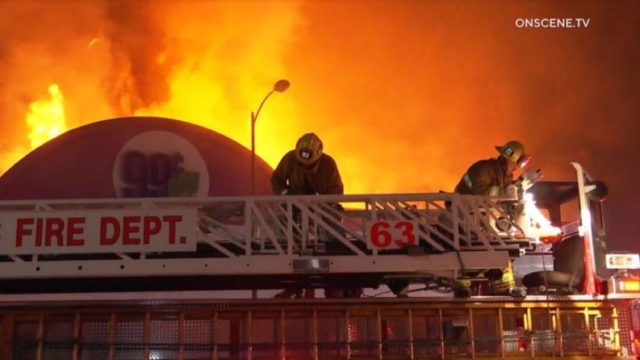 Firefighters battle blaze in Culver City