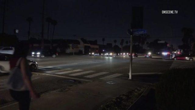 Darkened streets in Fullerton