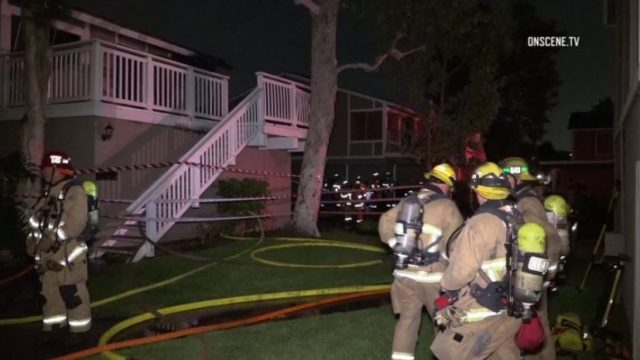 Firefighters at blaze in Huntington Beach