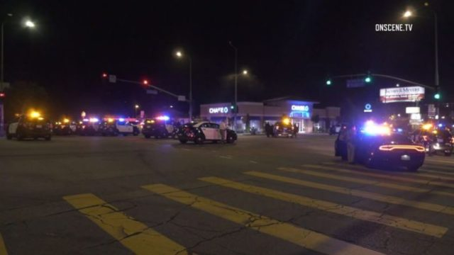 LAPD cruisers converge on suspect