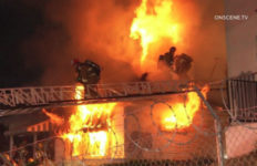 Firefighters battle blaze in Harvard Heights
