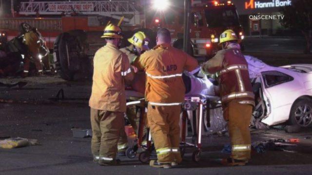 First responders assist a crash victim