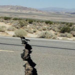 Crack on highway caused by earthquake