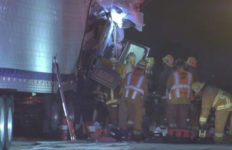First reponders at the big rig crash
