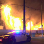 Mobile home in flames