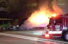 Burning big rig in Anaheim