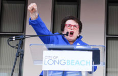 Billie Jean King at library opening
