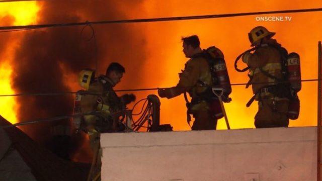 Firefighters battle downtown blaze