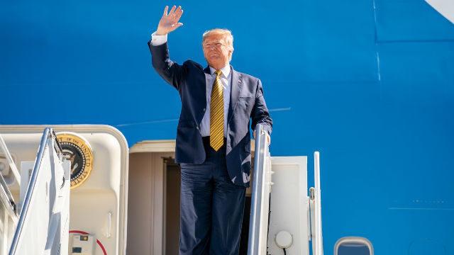 President Trump arrives in Los Angeles
