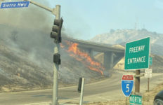Fire burns near Golden State Freeway