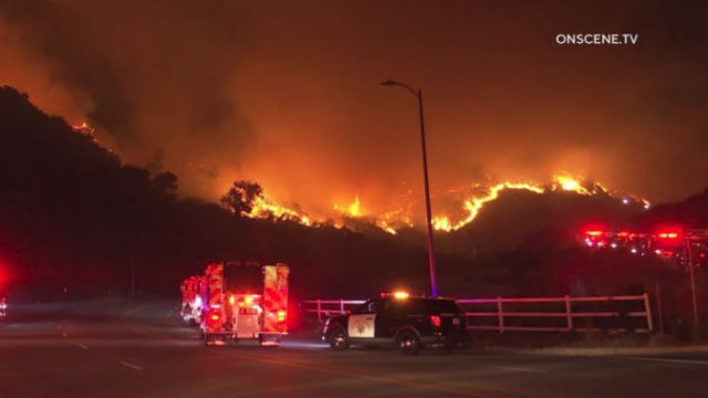 Flames from Getty Fire