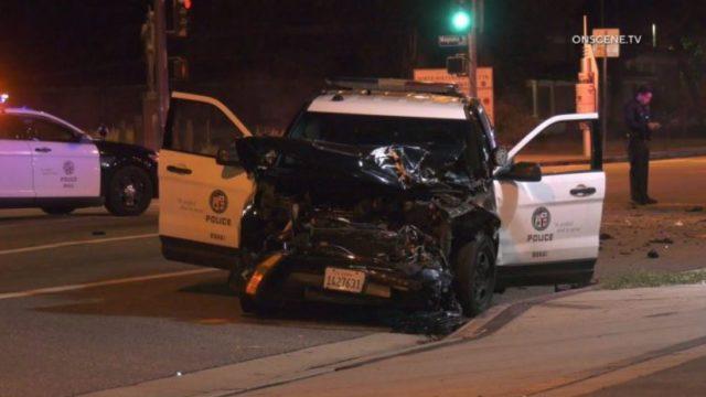 Wrecked patrol car